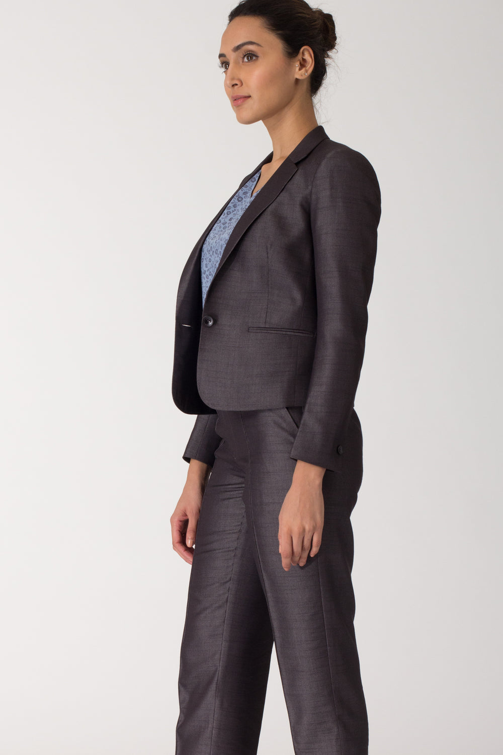Dark Grey Formal Blazer Suit for work. Buy stylish office suits and professional looks online at www.intermod.in