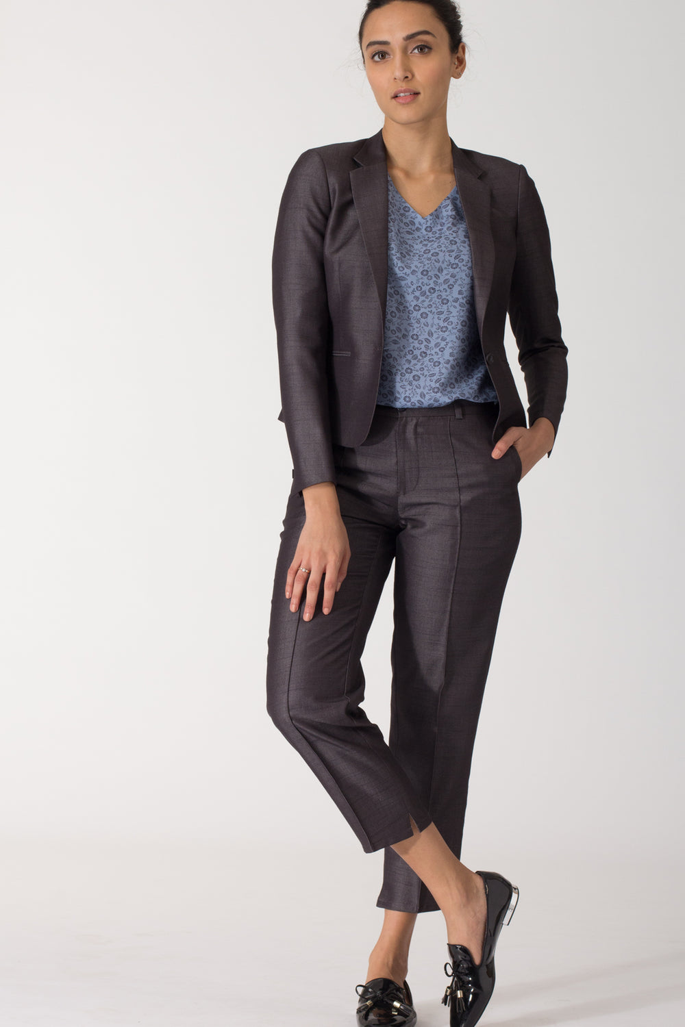 Charcoal Pin-tucked Cropped Pants