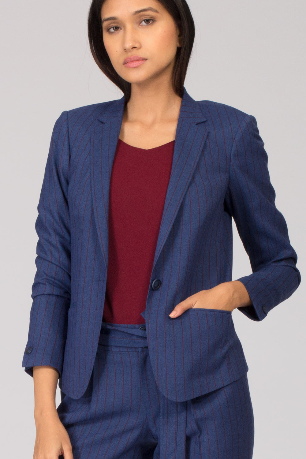 Blue Pinstripe Formal Blazer Pant Suits for Working Women. Shop for formal trousers, suits and workwear dresses at www.intermod.in