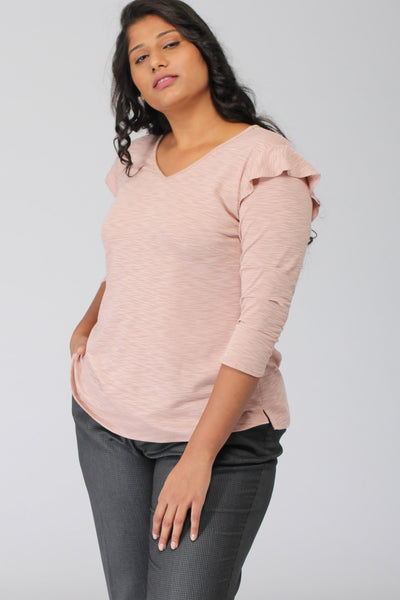 Crepe Pink Viscose Knit Top