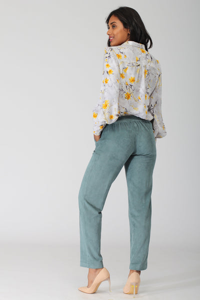 Oslo Dark Green Stretch Pants with jogger waistband