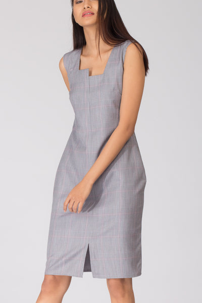 Hillary Boxy Neck Shift Dress