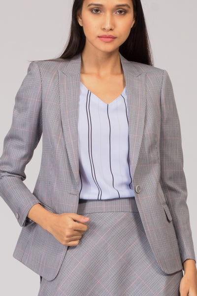 Grey Formal Blazer Suit for Working Women. Shop for stylish office suits and professional looks at www.intermod.in