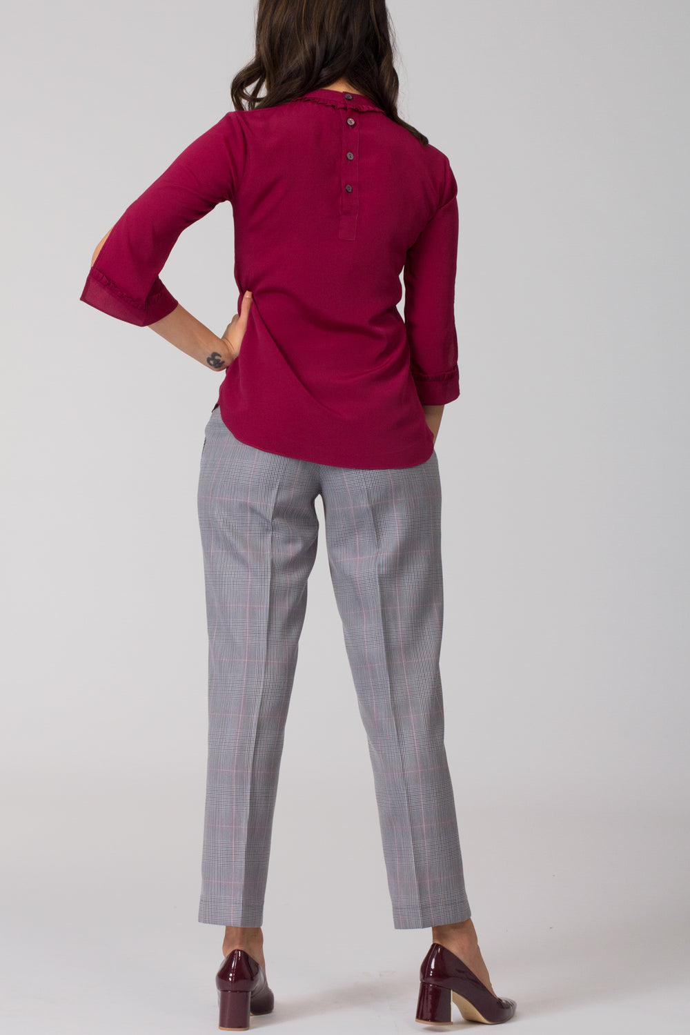 Grey women's formal pants and trousers for office. Shop online for well fitted and plus size formal trousers and pants at www.intermod.in