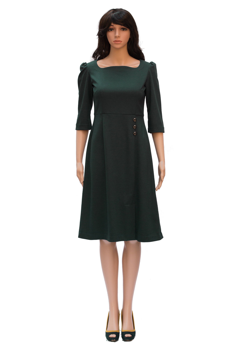 Formal apparel: Knee length green dress with three fourth sleeves and slit in knee