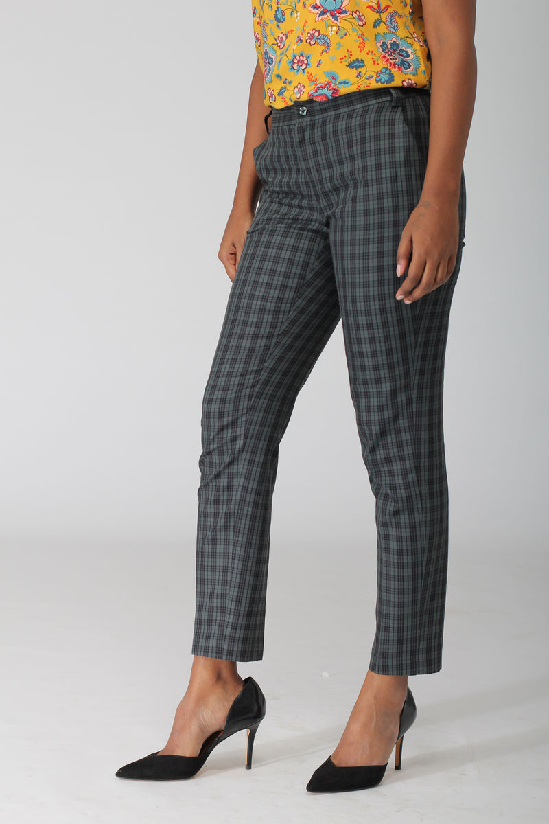 Green Plaid Checks Cotton Pants