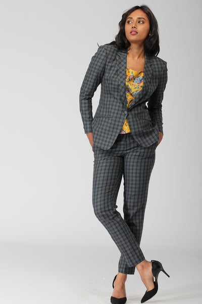 Green Plaid Cotton Blazer