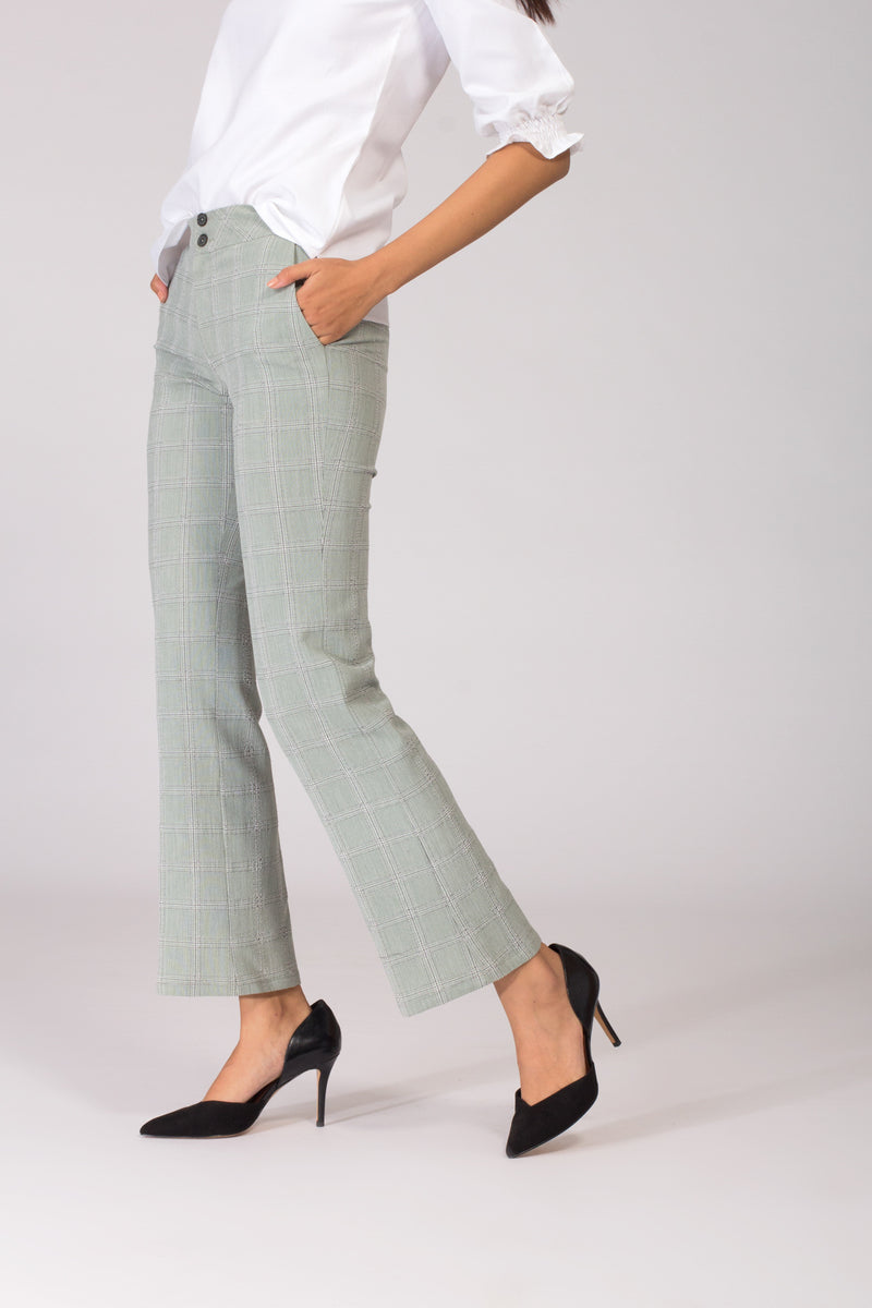 Delina Herringbone Flared Pants