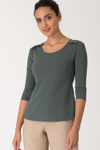 Sage Button Detail Top