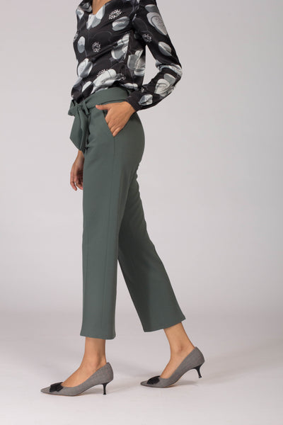 Stretch Comfortable Green women's formal pants and trousers for office. Shop online for all sizes, plus size culottes , trousers, and formal palazzo pants at www.intermod.in