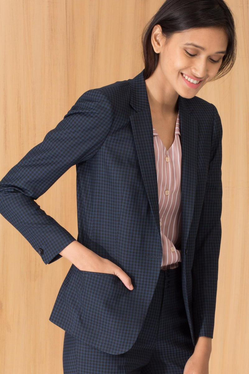 Blue and Black Formal Blazer for Women. Shop for premium business suits and jackets at www.intermod.in