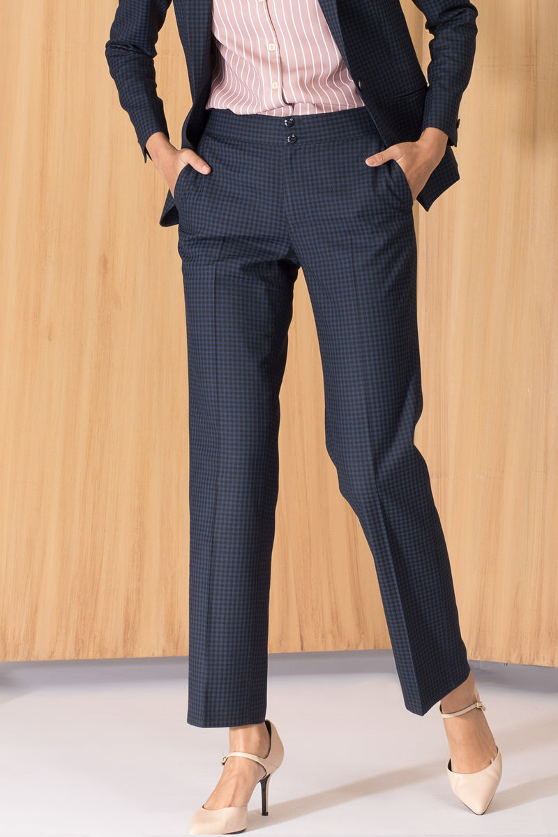 Blue and black women's formal pants and trousers for office. Shop online for all sizes, plus size culottes , trousers, and formal palazzo pants at www.intermod.in