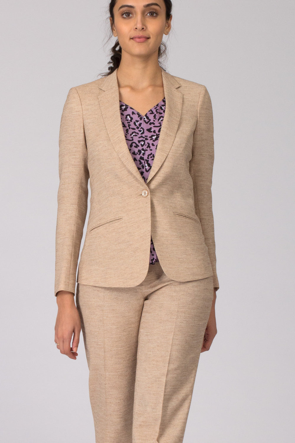 Beige Formal Blazer Suit for Office going Women. Shop online for a variety of office looks and professional wear at www.intermod.in