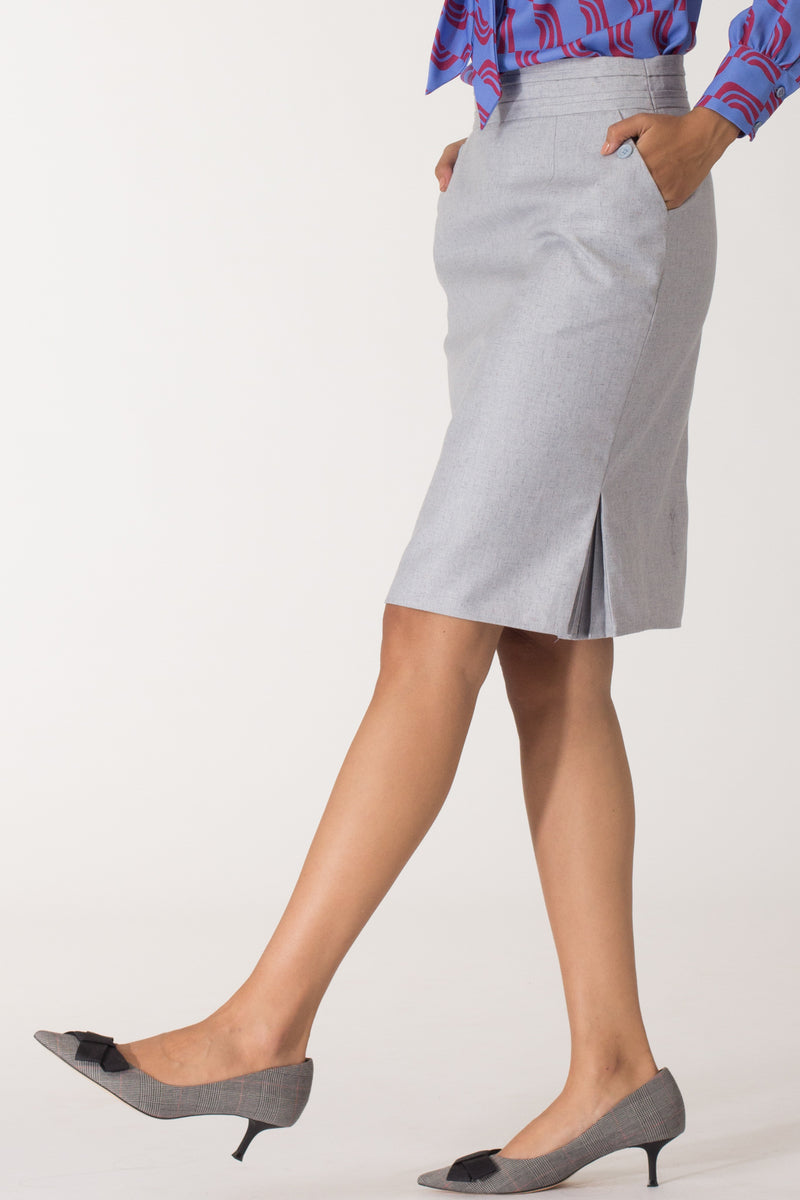 Stone Blue Kickpleat Skirt