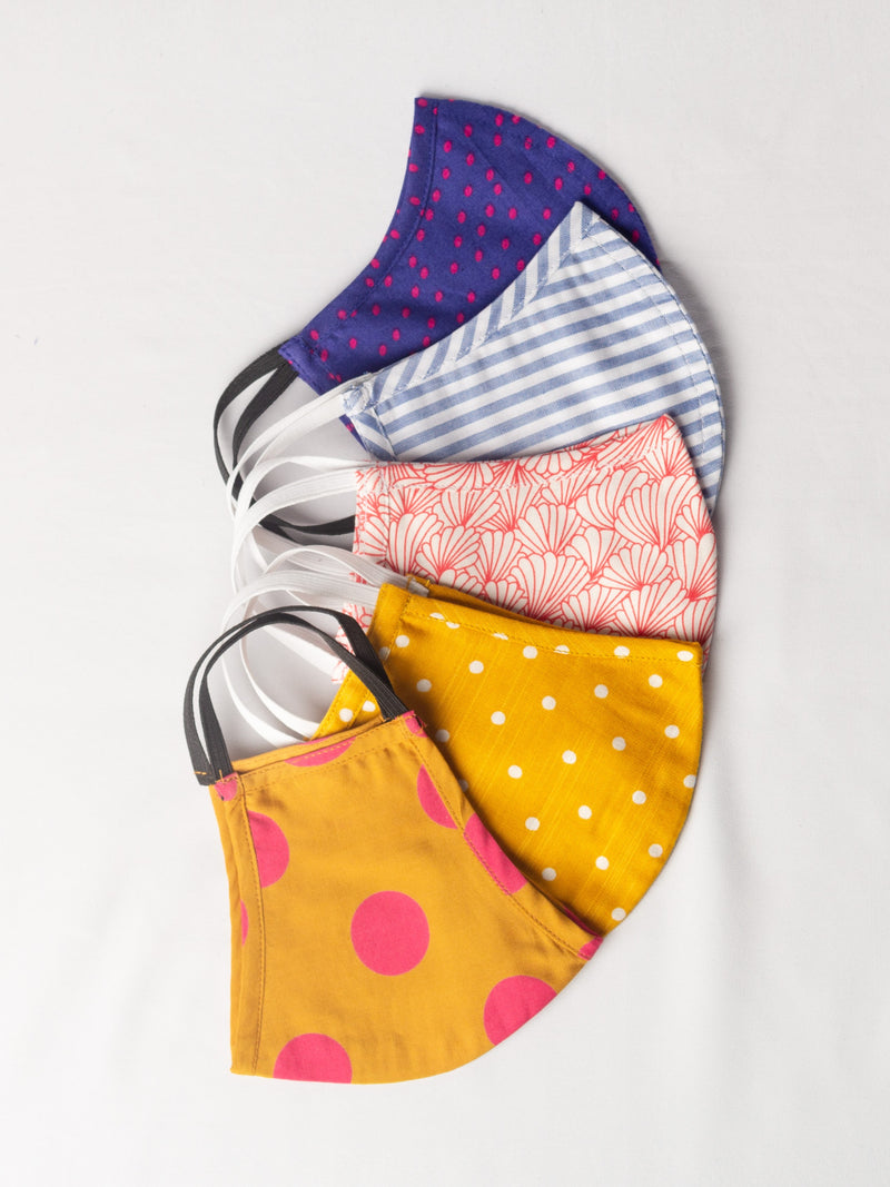 Assorted Pack of 5 Two Ply Cloth Masks