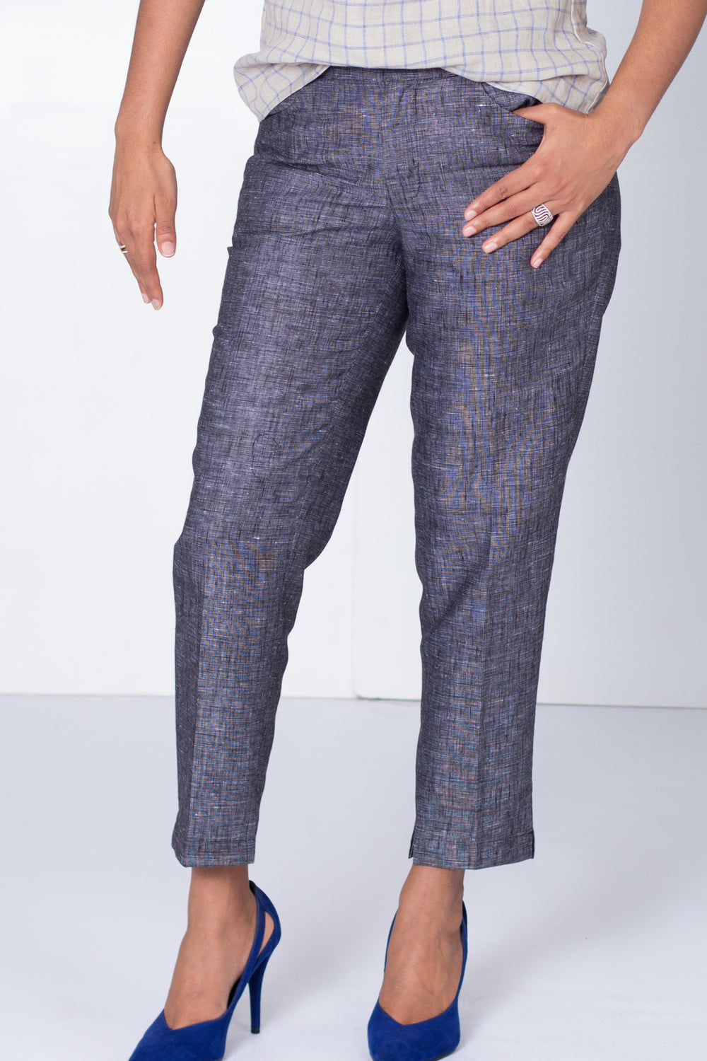 Pure Linen Formal Pants in Pebble Black