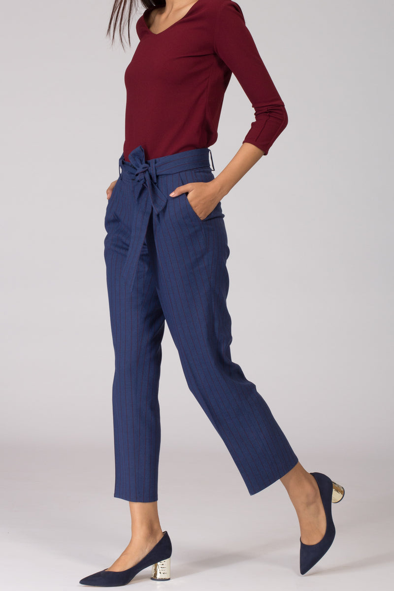 Smart Blue Pinstripe women's formal pants and trousers for work. Shop online for well fitted and plus size formal trousers and pants at www.intermod.in