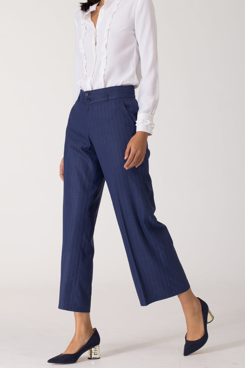 Blue wide leg formal pants and trousers for office. Shop online for culottes , trousers, and formal palazzo pants at www.intermod.in