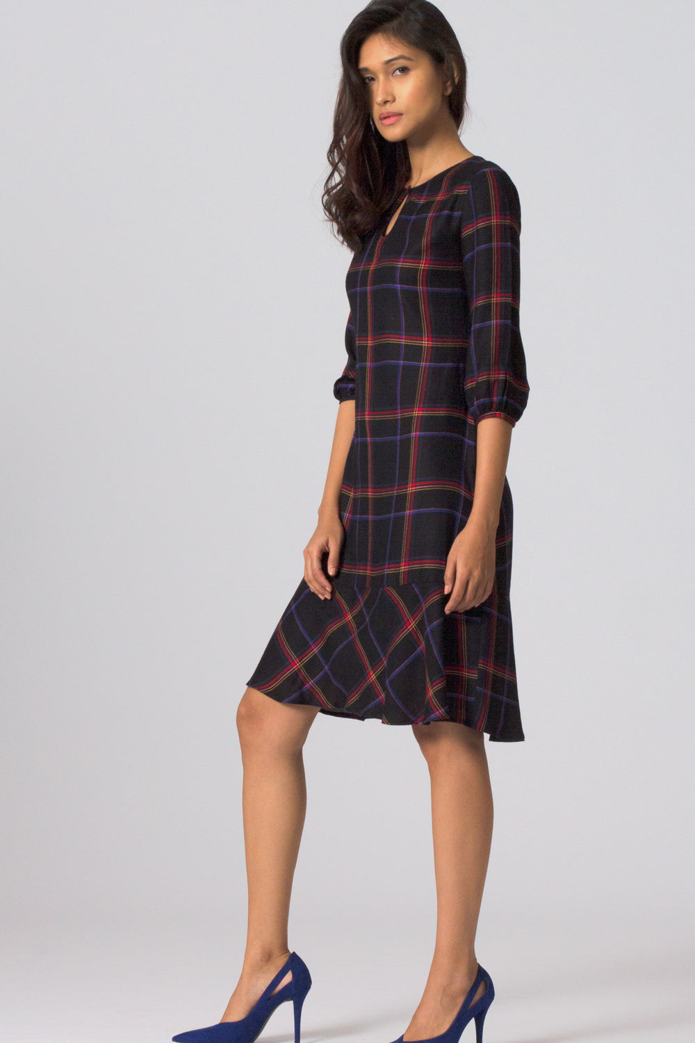 Black Check Paneled Dress