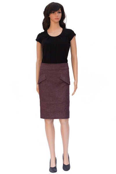 Tapered cotton skirt with pockets for office wear