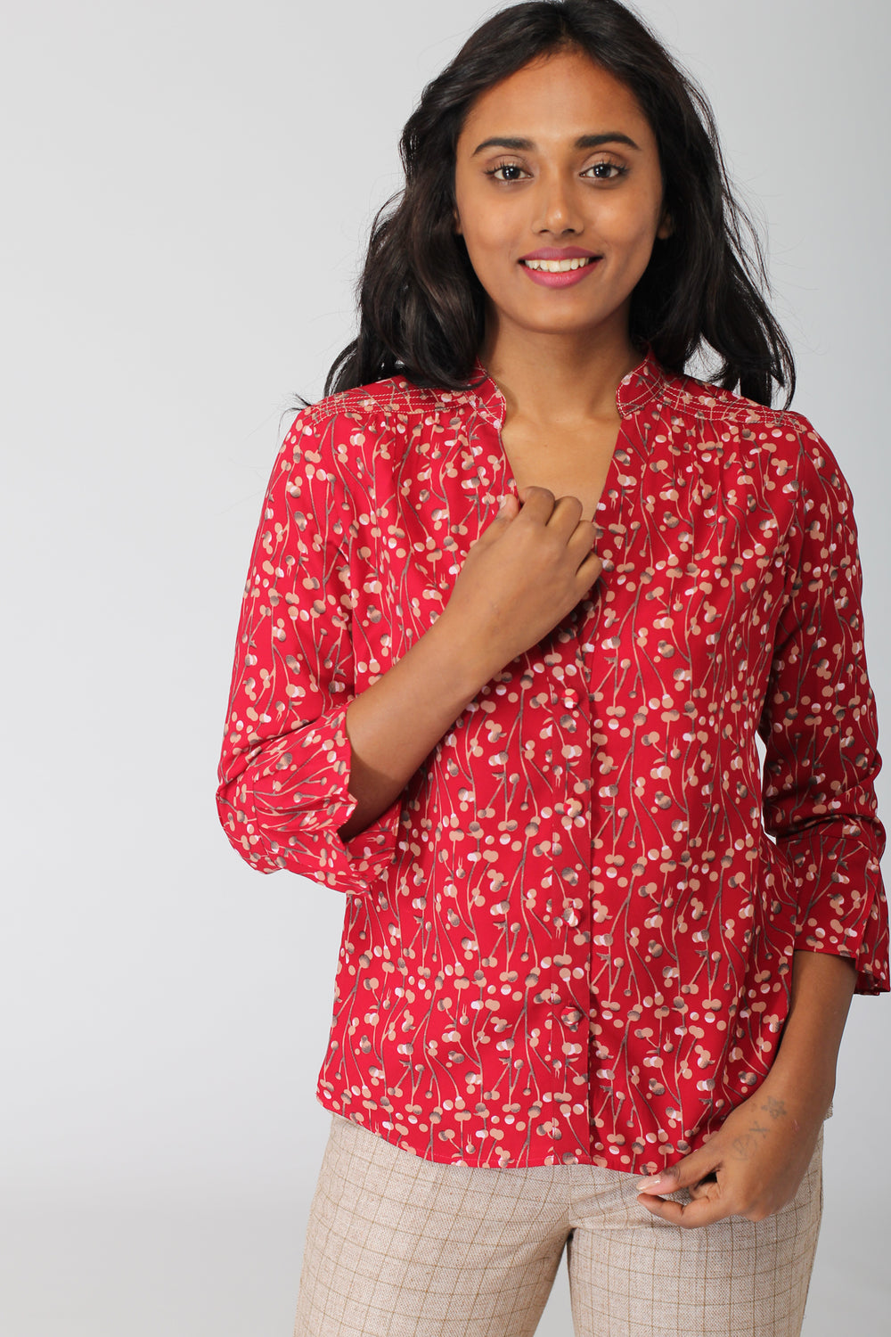 Shillong Collarless Shirt with Threadwork Detail