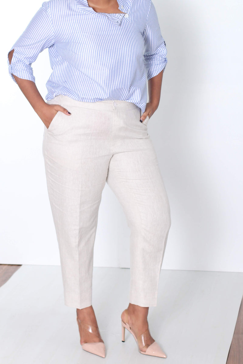 Pure Linen Formal Pants in Natural color