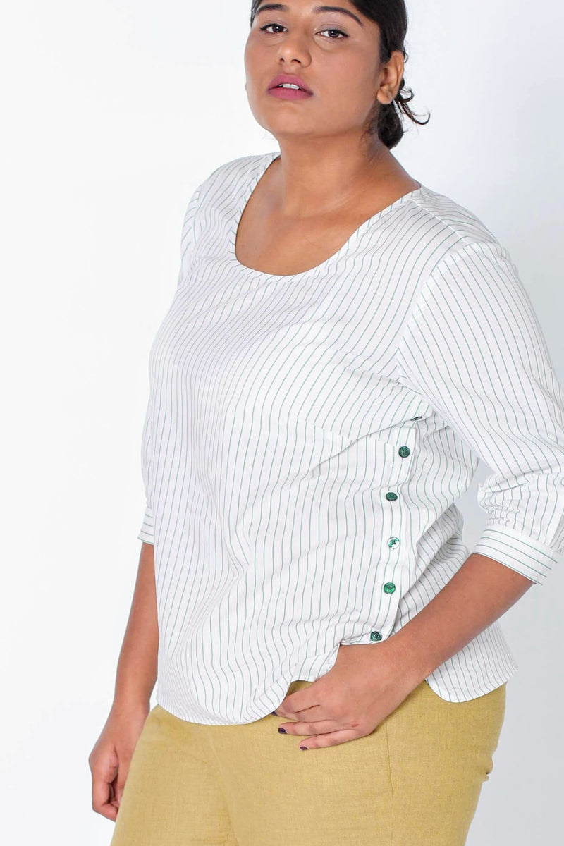 Venice Side Button Striped Cotton Top