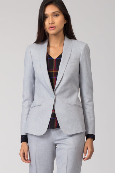 Stone Blue Trousers with Shawl Lapel Blazer