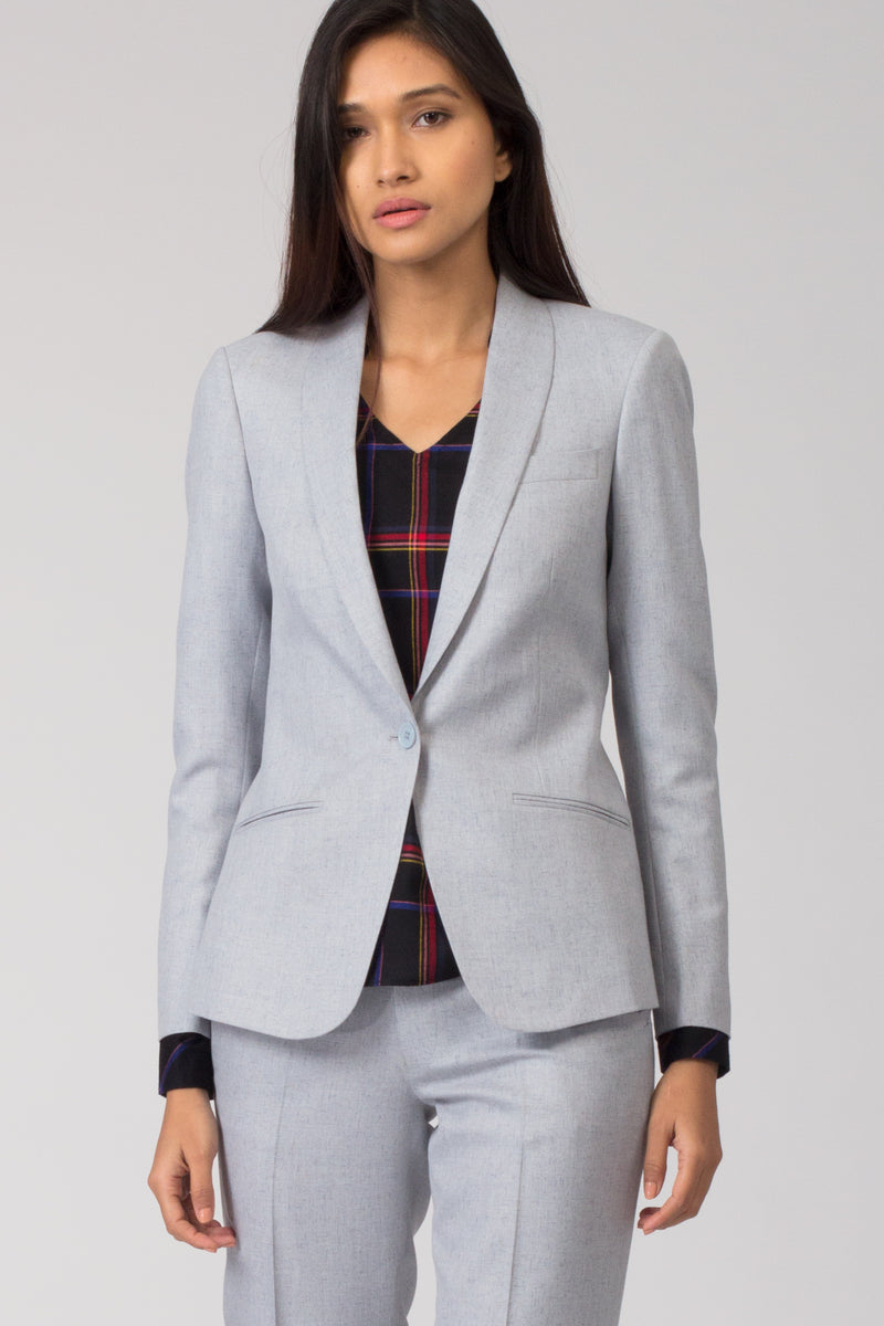 Light Blue Formal Blazer Suit for women. Buy formal pant-suits, formal dresses, skirts and formal trousers and other professional looks online at www.intermod.in