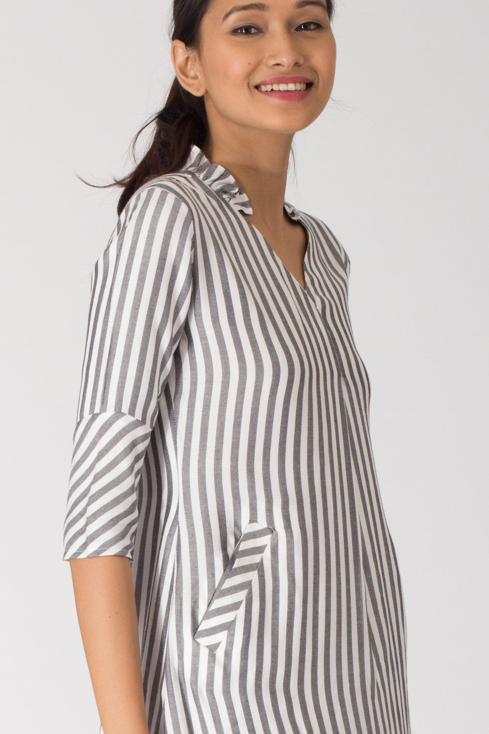 Ziro V Neck Tunic with Ruffle