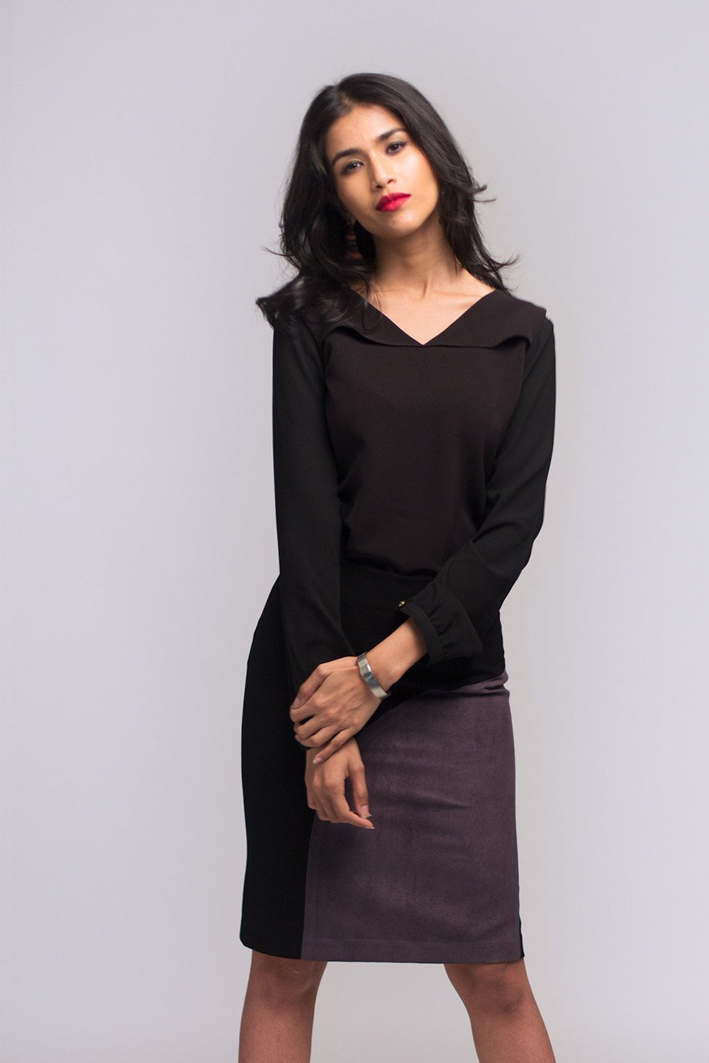 Black Trench Trim Blouse
