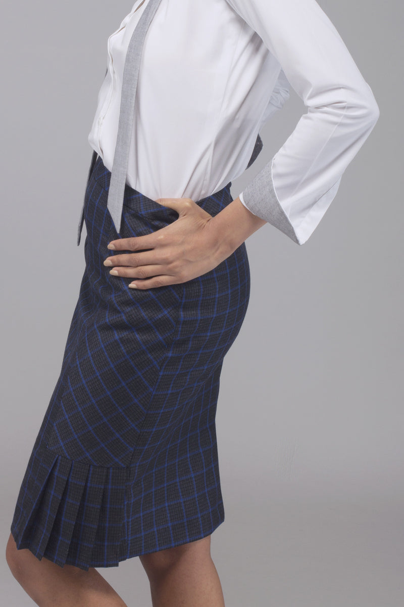 Windowpane Kickpleat Skirt