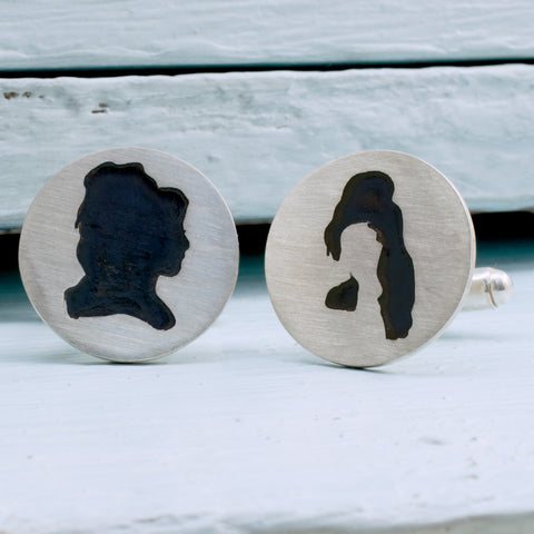 Handcut Sterling silver Amy Winehouse Cufflinks - RSJSStudios - 1
