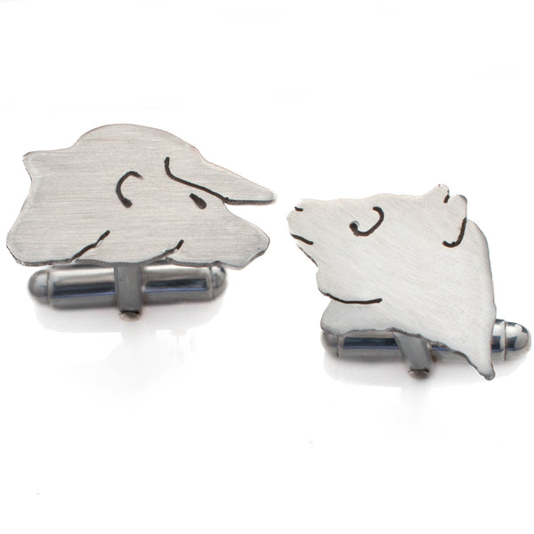 Bull and Bear Handmade Sterling Silver Cufflinks