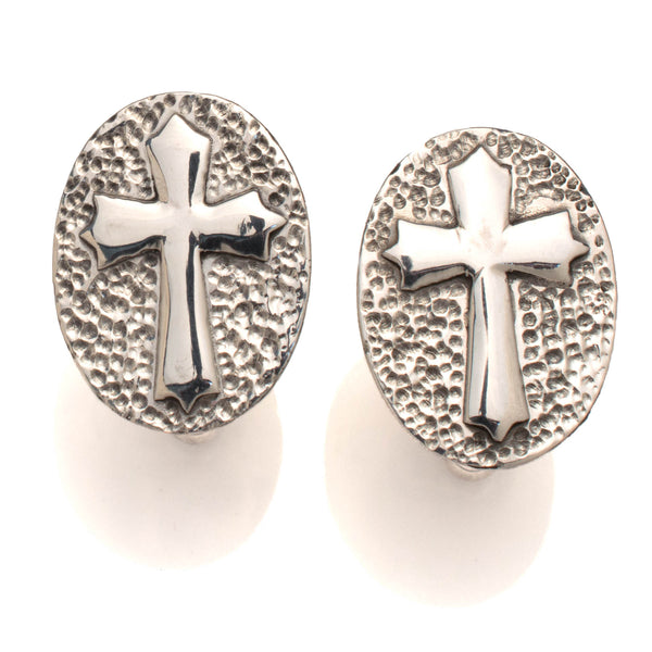 Crucifix Cufflinks, Handmade in Sterling silver. Oval Shape