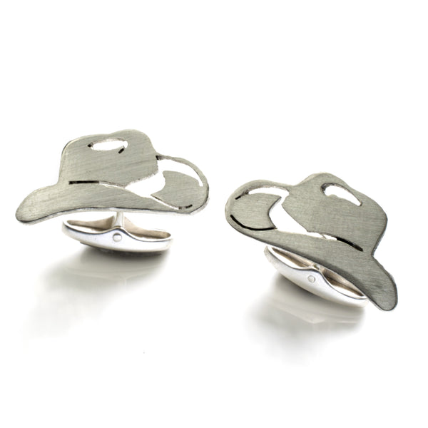 Cowboy Hat cufflinks in Sterling Silver