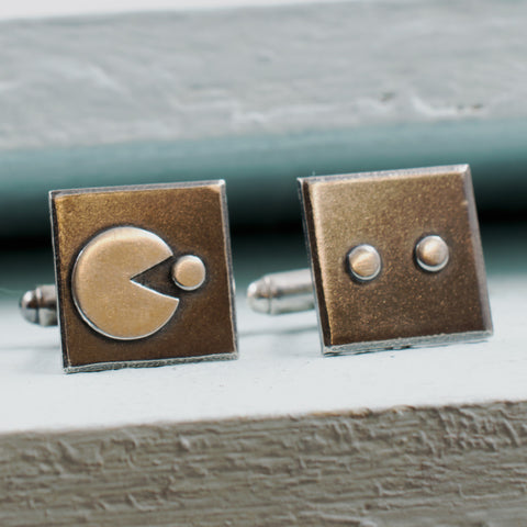 Retro Arcade Game Style Cufflinks in Sterling Silver - RSJSStudios - 1