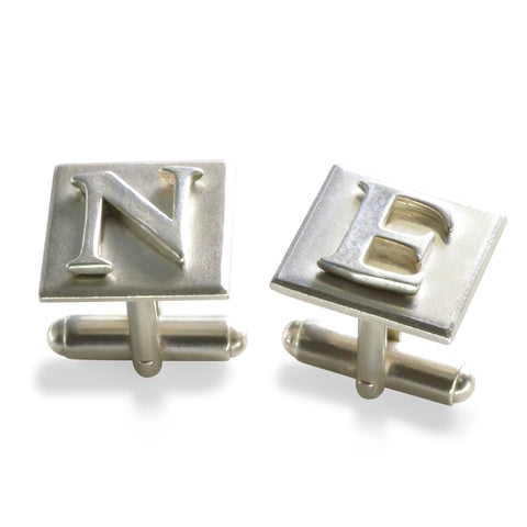 Heavy duty Sterling Silver Initial Cufflinks