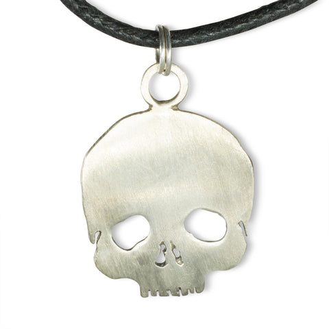 handmade skull pendant in sterling silver on leather chain made by RSJS Studios