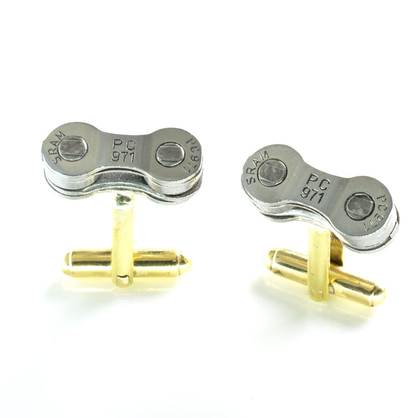 Upcycled bike Chain cufflinks made from SRAM Chain. Ideal Gift for the Groomsmen