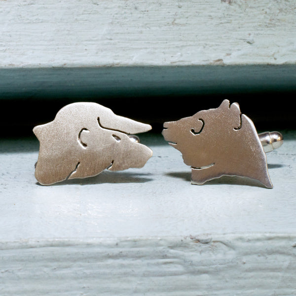 Bull and Bear Handmade Sterling Silver Cufflinks - RSJSStudios - 1