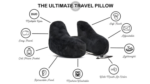 DUO World's Best Travel Pillow: 9 features packed in 1 pillow
