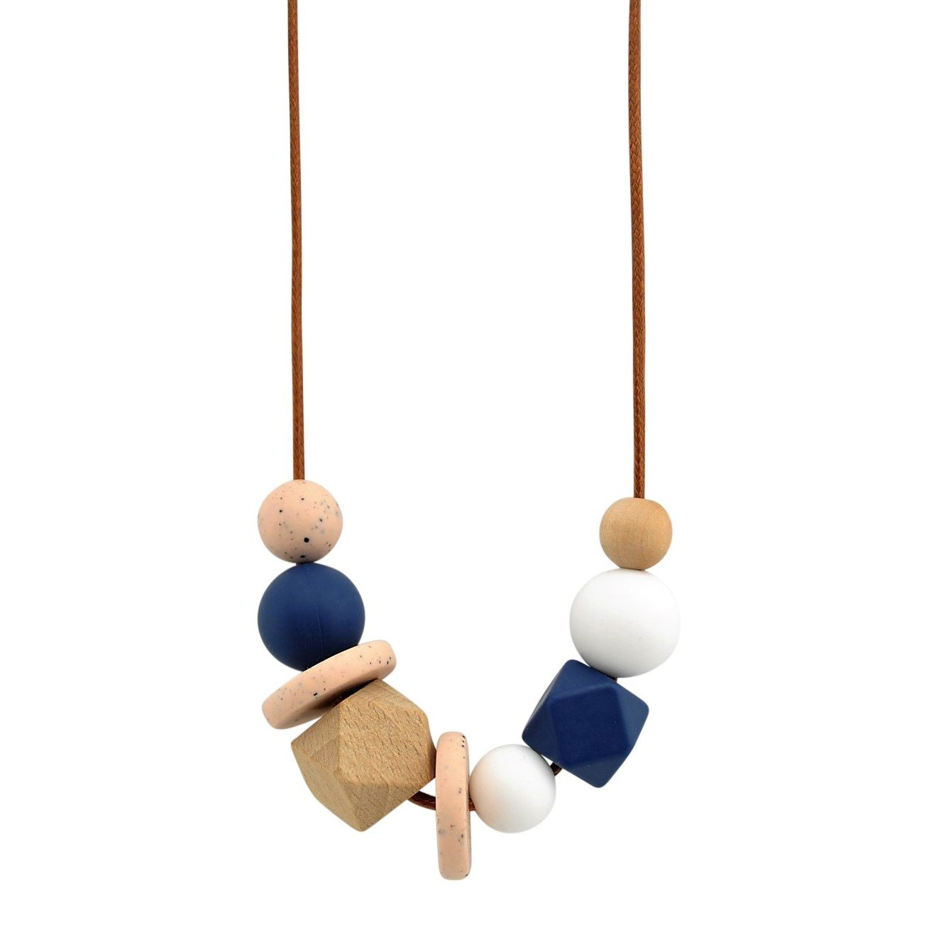 Blush Granite Nellie and the Cat Facet Timber and Silicone Necklace - Assorted Colours