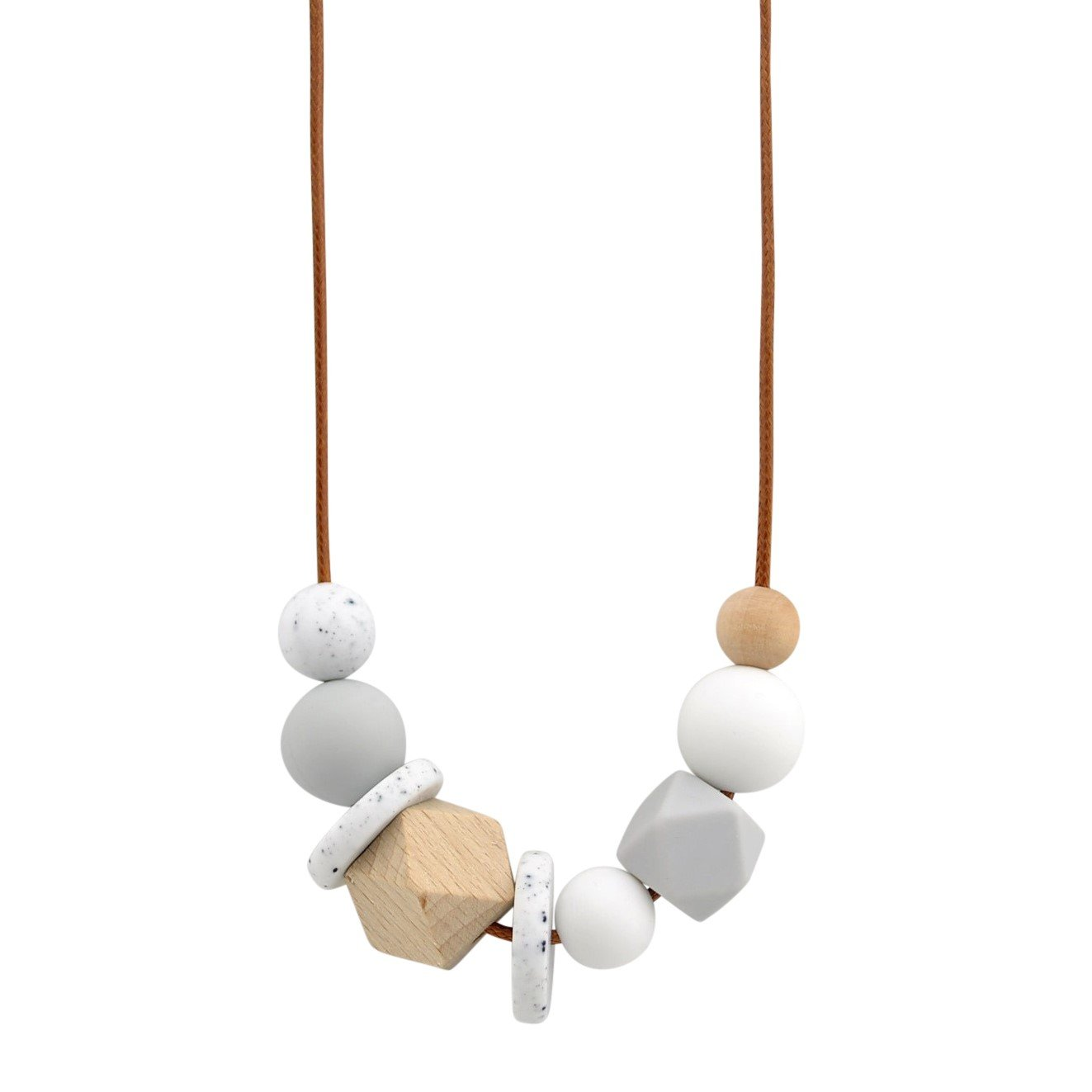 Grey Granite Nellie and the Cat Facet Timber and Silicone Necklace - Assorted Colours