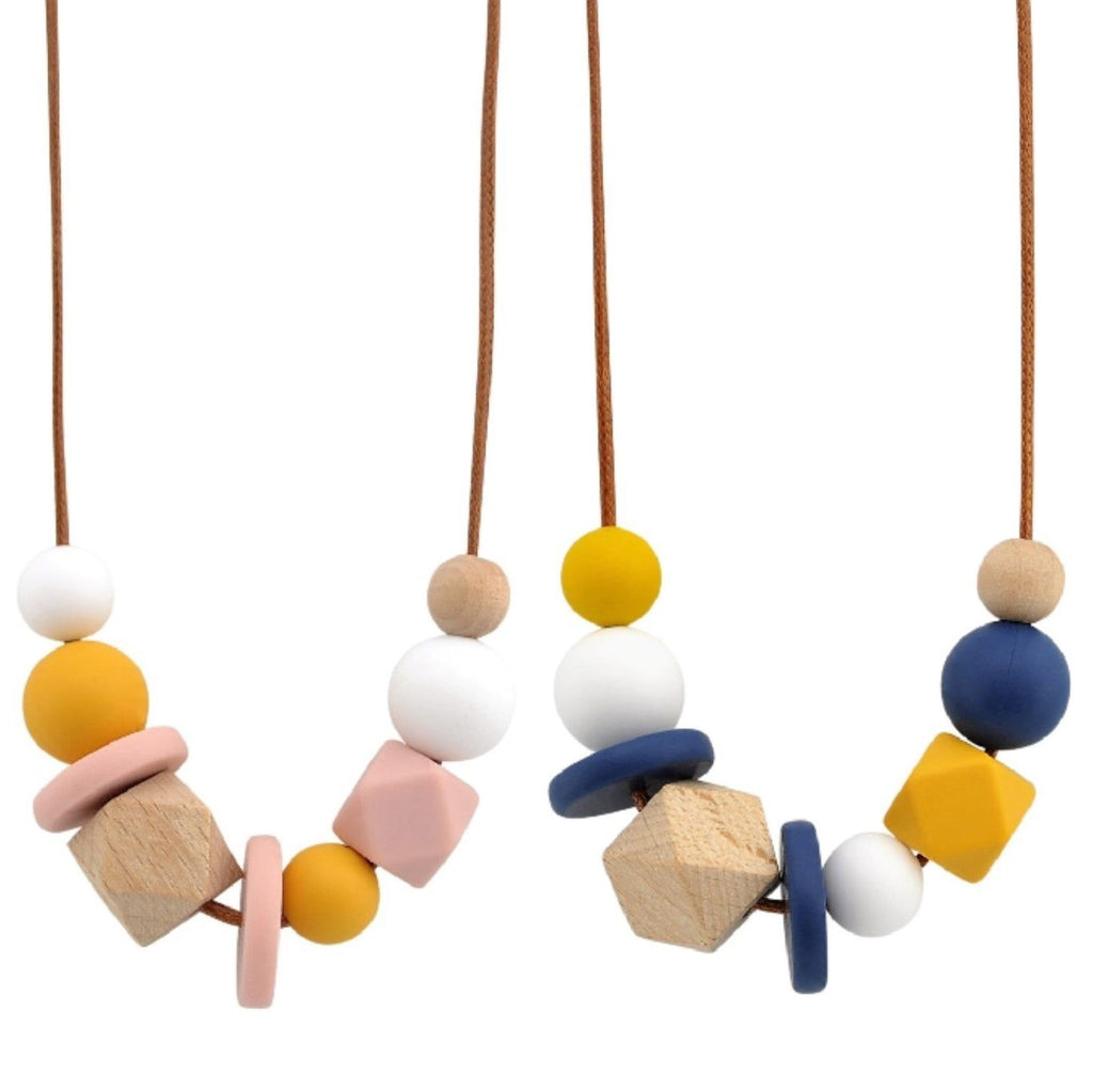 Nellie and the Cat Facet Timber and Silicone Necklace - Assorted Colour