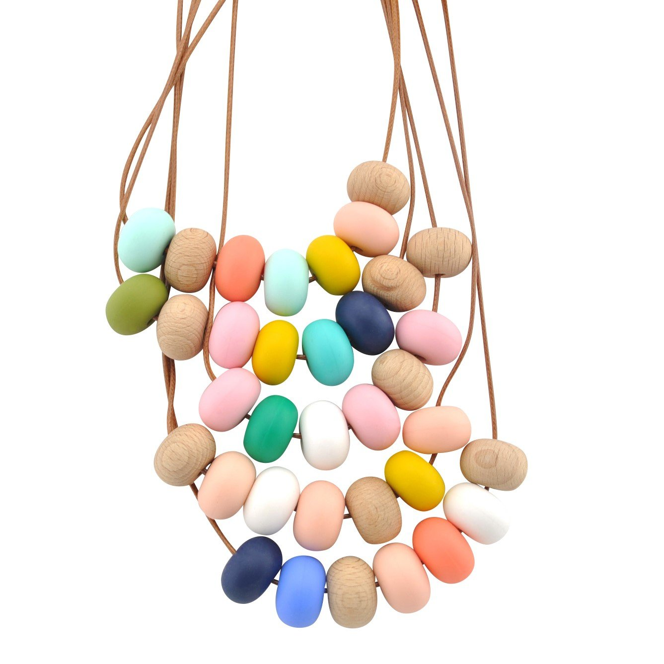 Nellie and the Cat Kaleido Timber and Silicone Necklace - Harlequin