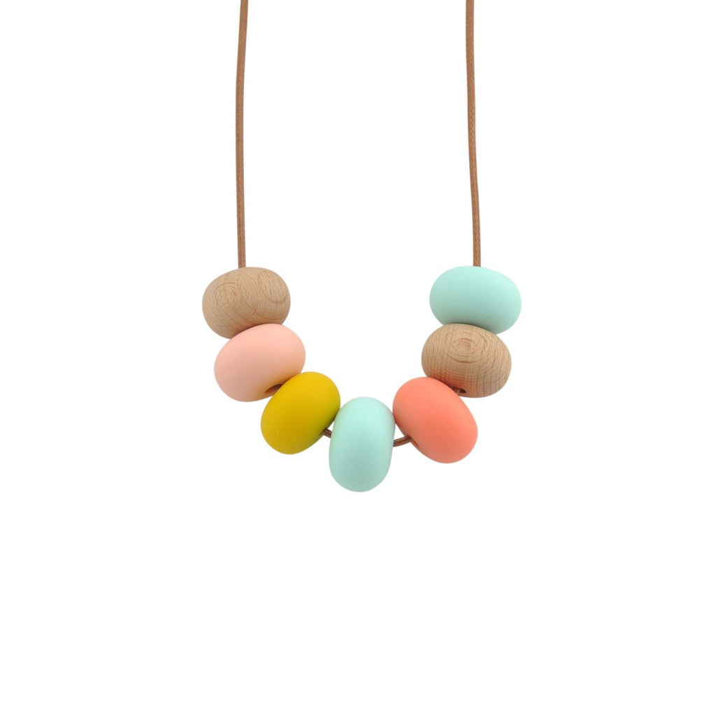 Nellie and the Cat Kaleido Timber and Silicone Necklace - Minty Mustard