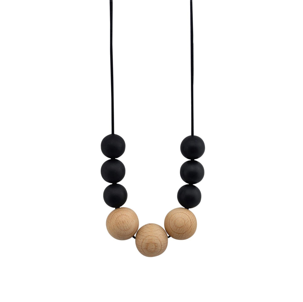 Nellie and the Cat Scandi Timber and Silicone Necklace - Black