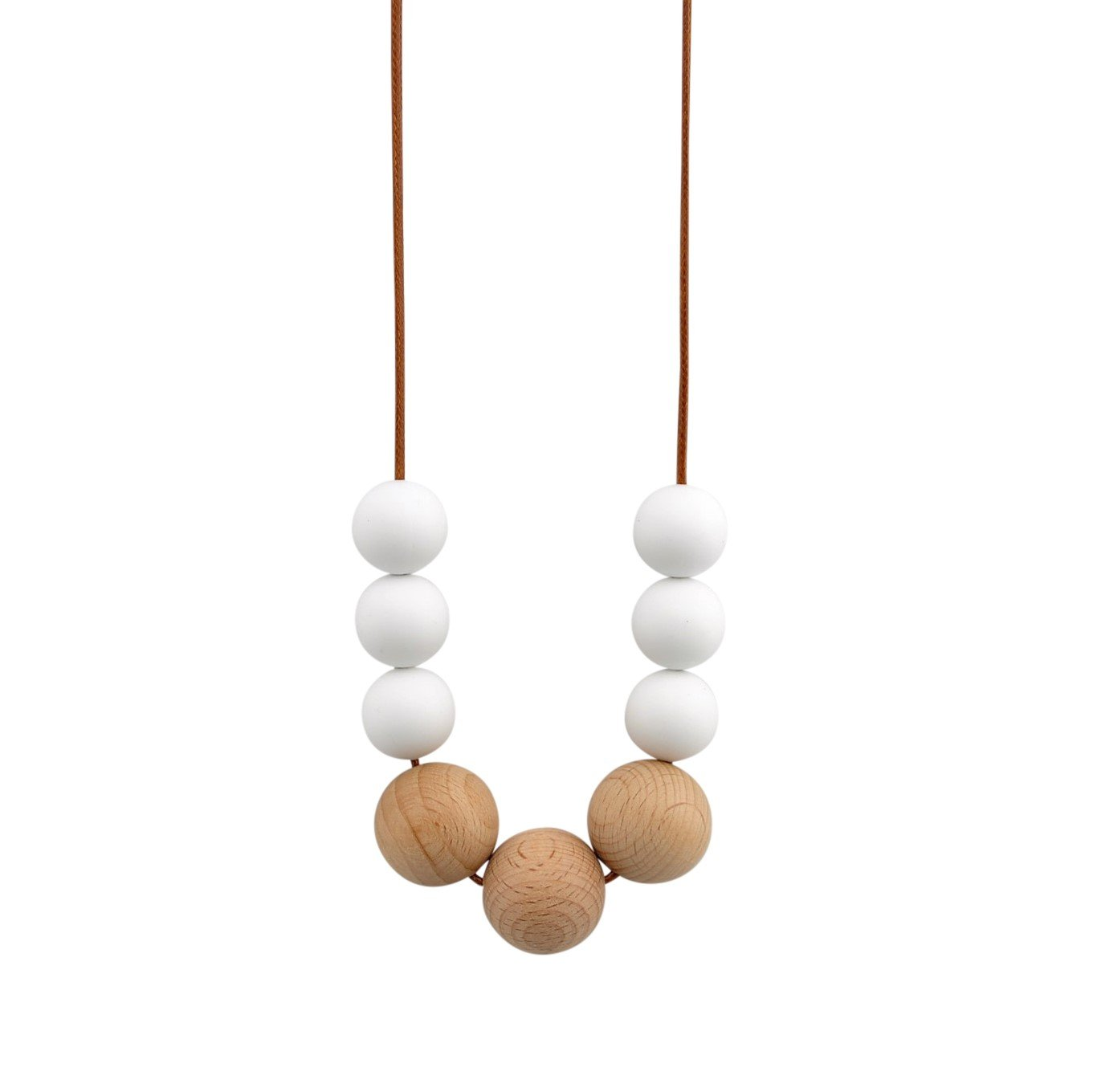 White on tan cord Nellie and the Cat Scandi Timber and Silicone Necklace - White