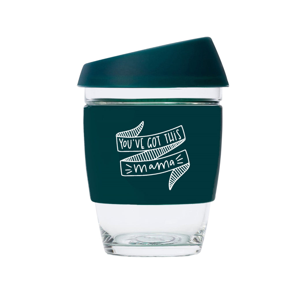 You've Got This Mama JOCO Reusable Glass Travel Cup Deep Teal